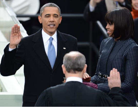 Barack Obama taking oath of office in 2013
