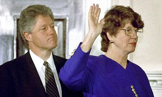 President Bill Clinton and Attorney General Janet Reno