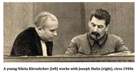 Khrushchev with Stalin, circa 1940s