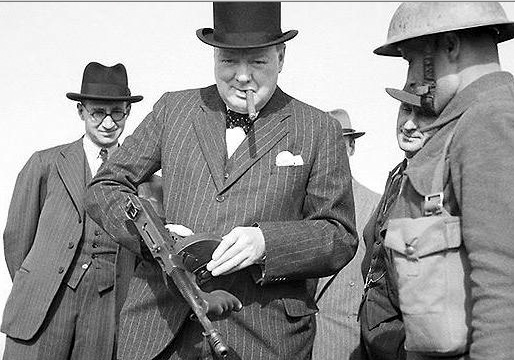 Winston Churchill with Thompson Machine Gun